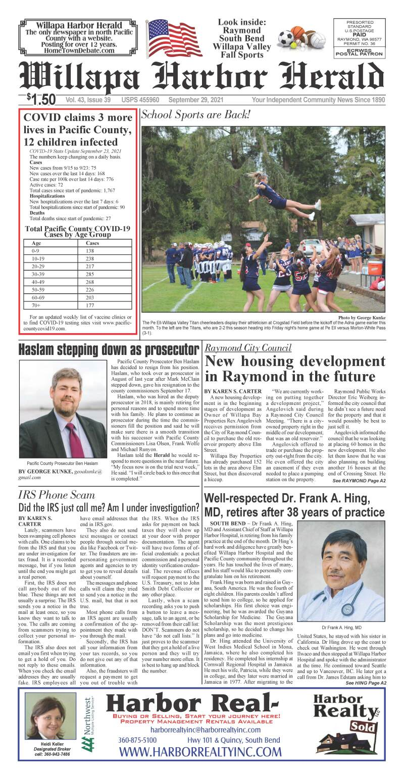 September 29, 2021 Willapa Harbor Herald and Pacific County Press
