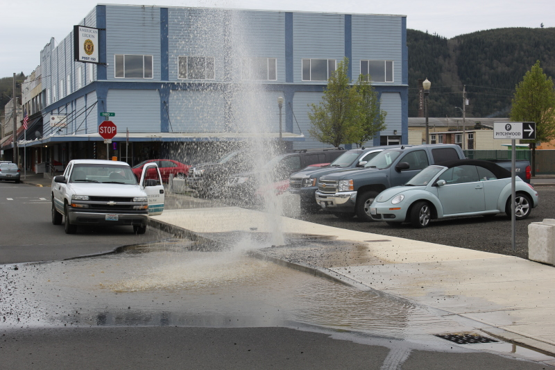 Water main burst in downtown Raymond
